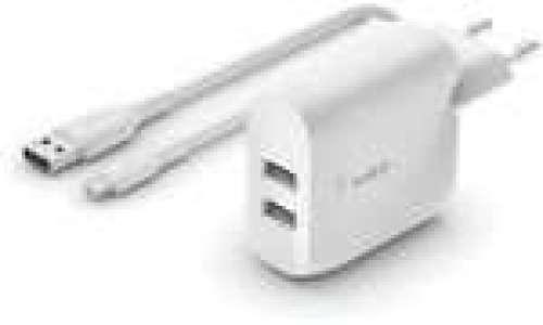 Chargeur rapide secteur Belkin 24W 2xUSB-A + Cable micro USB 1m
