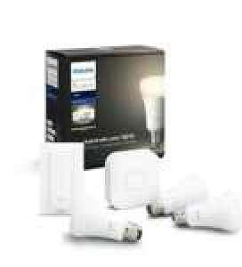 Kit de démarrage ampoules connectées E27 Philips Hue White (3 ampoules + pont + interrupteur)