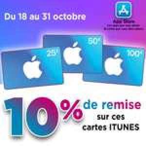 10% de réduction sur les cartes App Store et iTunes d'un montant de 25€, 50€ et 100€ (Uniquement en Magasin)