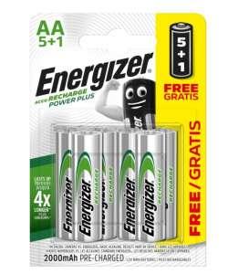 Lot de 6 Piles Rechargeables AA Energizer - Recharge Power Plus, 2 000 mAh