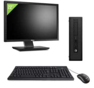 Pack PC HP Prodesk 600 G1 SFF - Intel Core i5, 8 Go RAM, 500 Go HDD, Windows 10 + Ecran 22