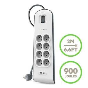 Multiprise Belkin - 8 Prises, 2 USB, 2m, Blanc