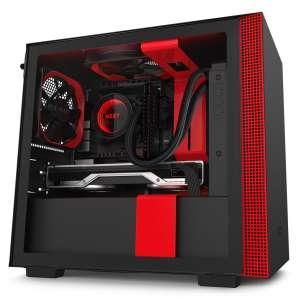 Boitier NZXT H210i Noir/Rouge avec fenêtre latérale en verre trempé et rétroéclairage RGB