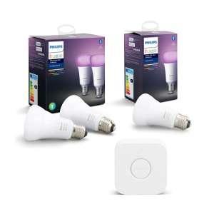 Sélection de produits Philips Hue en Promotion - Ex : Kit Starter 3 Ampoules connectées White & Color E27 + Pont (Frais d'import inclus)