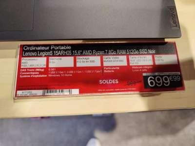 PC Portable Gamer 15,6'' Lenovo Legion 5 15ARH05 - Full HD 120 Hz, Ryzen 7 4800H, RAM 8 Go, 512 Go SSD, GTX 1650, W10 - Tours Nord (37)