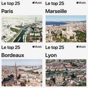 Apple Music lance un top 25 des musiques pour 4 villes françaises