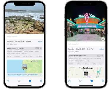 iOS 15 : les données EXIF s'affichent dans l'app Photos