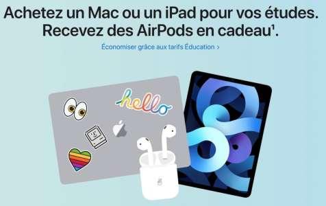 Apple lance son Back to School 2021 en France : AirPods offerts avec l'achat d'un Mac ou iPad