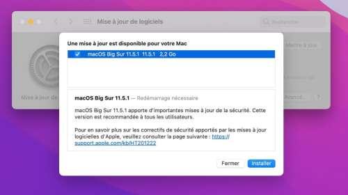 macOS 11.5.1 est disponible au téléchargement