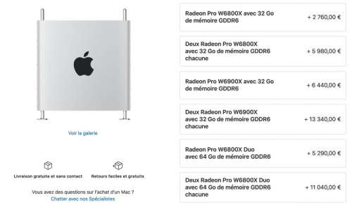 Apple met à jour le Mac Pro avec de nouvelles cartes graphiques haut de gamme