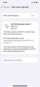 iOS 15 bêta 7 est disponible