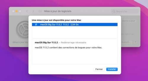macOS 11.5.2 est disponible sur Mac
