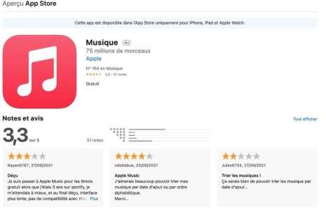 Noter les applications d'Apple sur l'App Store devient possible