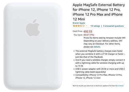 [#Promo] Batterie Externe Magsafe à 92€ au lieu de 109€ (+ autres promos Apple)