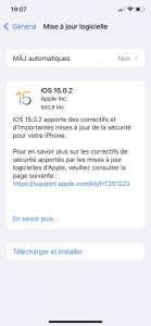 iOS 15.0.2 est disponible pour corriger des bugs