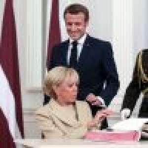 Brigitte Macron impeccable en beige, inséparable d'Emmanuel Macron en Lettonie