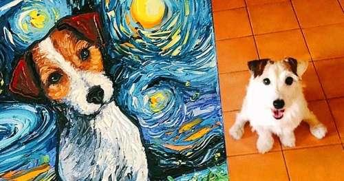"""Une artiste immortalise les animaux dans le style de """"La nuit étoilée"""" de Vincent van Gogh"""