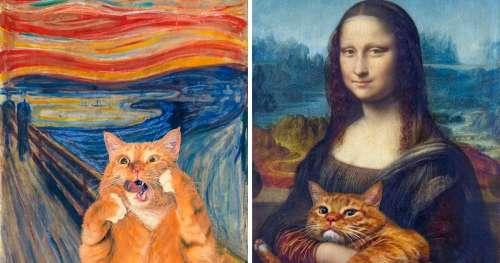 Une artiste russe a réinventé des œuvres d'art iconiques en ajoutant son chat aux tableaux (15 œuvres)
