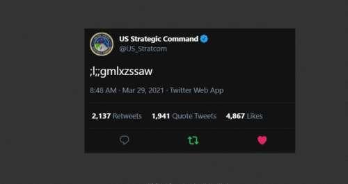 """Oups!. """";l;;gmlxzssaw"""": le tweet du commandement nucléaire américain était l'œuvre d'un """"petit saboteur""""Courrier international 31/03/2021 - 12:03"""