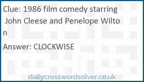 1986 film comedy starring John Cleese and Penelope Wilton crossword answer