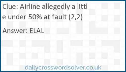 Airline allegedly a little under 50% at fault (2,2) crossword answer