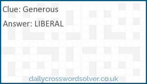 Generous Crossword Answer Solutions De Jeux