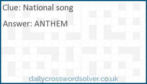 National song crossword answer
