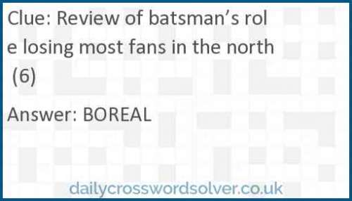 Review of batsman's role losing most fans in the north (6) crossword answer