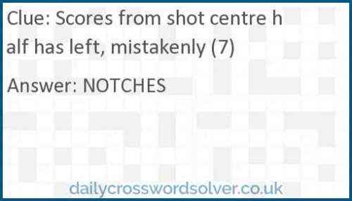 Scores from shot centre half has left, mistakenly (7) crossword answer