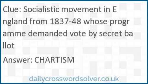 Socialistic movement in England from 1837-48 whose programme demanded vote by secret ballot crossword answer