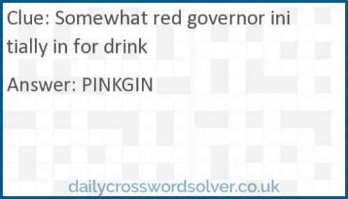 Somewhat red governor initially in for drink crossword answer