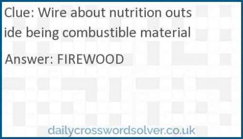 Wire about nutrition outside being combustible material crossword answer
