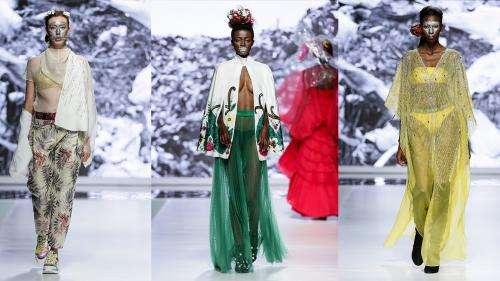 Coronavirus : le styliste Gavin Rajah détourne les masques à la Fashion Week du Cap