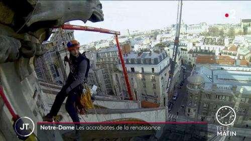 VIDEO. Notre-Dame de Paris : les cordistes, acrobates dela reconstruction