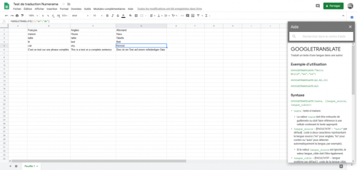 Comment traduire des mots avec Google Sheets (oui, Google Sheets)