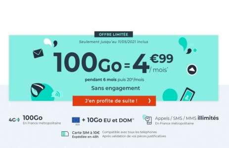 Ce forfait mobile 100 Go est à seulement 4,99 € mensuels pendant les six premiers mois