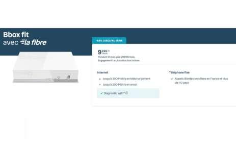 La Fibre est actuellement à 10 €/mois avec la Bbox fit de Bouygues Telecom