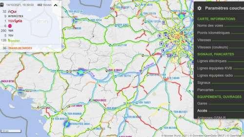 Cette carte permet de connaître la position de tous les trains de France en temps réel