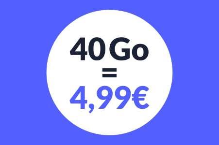 Forfait mobile: vous rêvez d'un prix choc? Voici 40 Go à 4,99 euros
