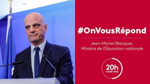 Jean-Michel Blanquer invité du JT 20 heures de France 2 ce soir