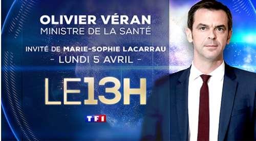 Olivier Veran invité du 13 heures de TF1 ce lundi 5 avril 2021